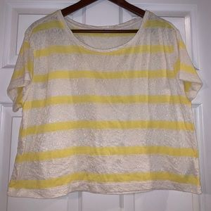 white lace and yellow striped cropped shirt